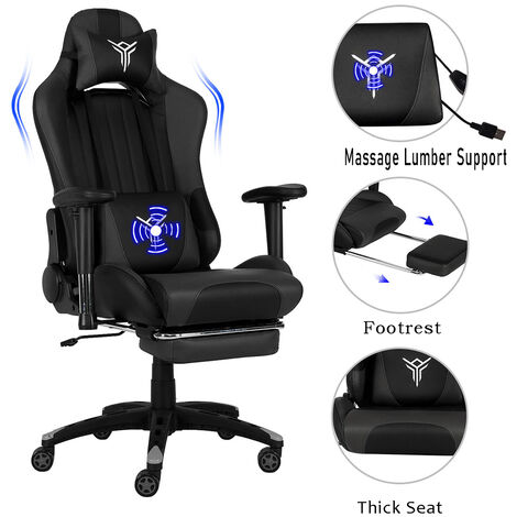 Gaming Chair Ergonomic Massage Racing Chair PU Leather with Retractable Footrest