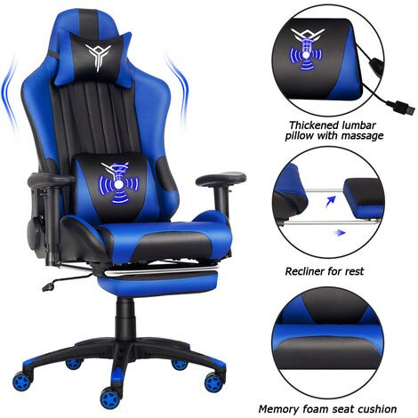 Gaming Chair Ergonomic Racing Massage Chair PU LeatherExecutive Adjustable Chairs with Footrest Headrest