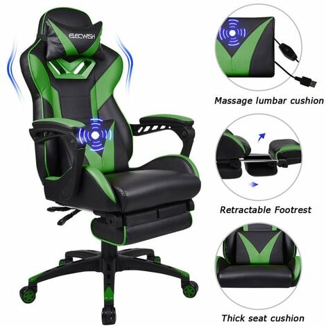 Gaming Chair Massage Racing Video Computer Chair PU Leather Executive Chair Adjustable Task Chairs with Footrest Lumbar Support