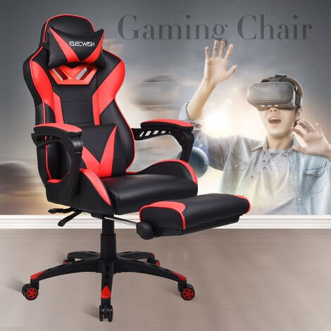 Gaming Chair Massage Video Computer Chair PU Leather Adjustable Task Office Chairs with Footrest Lumbar Support