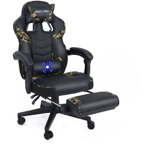 Gaming Chair Military Style Camouflage Modern Office Chairs with Footrest and Lumbar Support