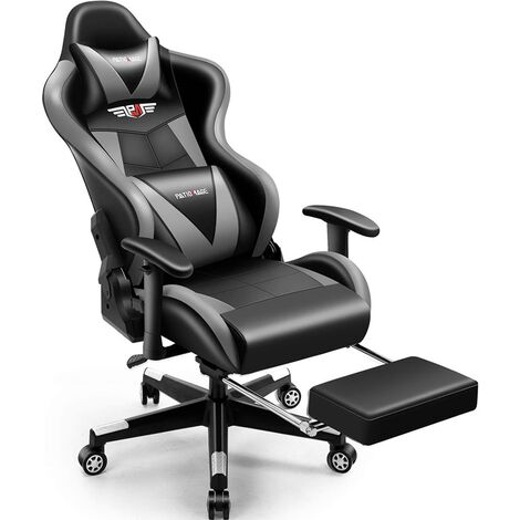 """main image of """"Gaming Chair Office Chair Footrest Black Grey Ergonomic Racing Executive Chair Swivel Chair Sports Seat Bucket Seat Computer Game Desk Chair Gaming PC"""""""