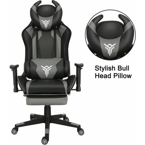 Gaming Chair Reclining Height Adjustable Video Racing Chair with Removable Headrest Lumbar Cushion Retractable Footrest, High Back Computer Desk Chair PU Leather for Home Office
