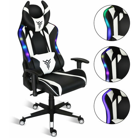 Gaming Chair White RGB LED Racing Computer Adjustable Ergonomic Chair Swivel Work Chair Headrest Lumbar Support