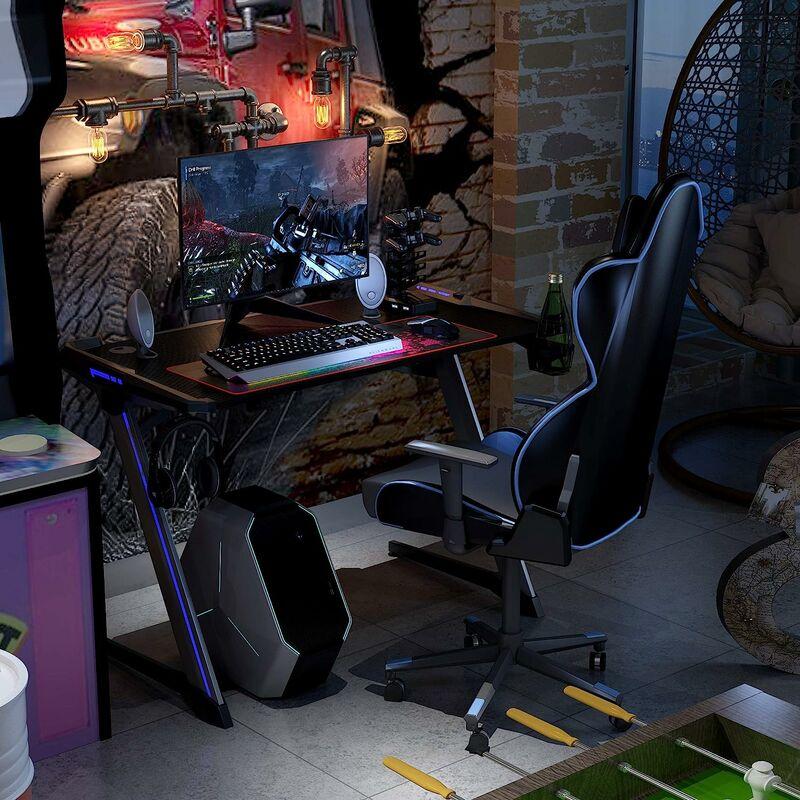 Nero Tavolo Gaming con Gancio per Le Cuffie e Supporto per Tazza 109 x 65 x 78cm Salvaspazio per Studio Ufficio Gaming HOMECHO Scrivania da Gioco Gaming Desk Scrivania Ufficio per Computer