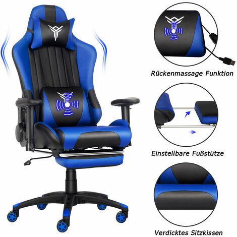 Gaming Stuhl Blue Ergonomischer Massage Racing Stuhl PU Leder mit einziehbarer Fußstütze