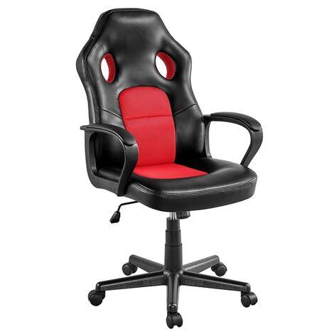Gaming Stuhl Bürostuhl Schreibtischstuhl Kunstleder Gamer Stuhl Sportsitz Höhenverstellbarer Chefsessel stufenlos verstellbare Rückenlehne Einteiliger Stahlrahmen