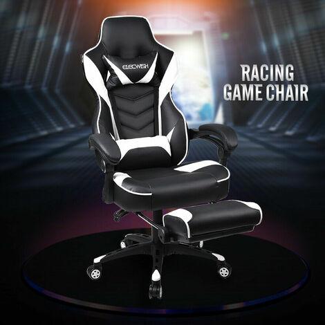 Gaming Stuhl Computer Stuhl PU Leder Executive verstellbare Stühle mit Fußstütze und Lendenwirbelstütze