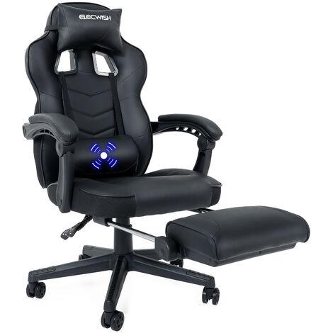 Gaming Stuhl Massage Computer Stuhl PU Leder verstellbare Stühle mit Fußstütze und Lendenwirbelstütze