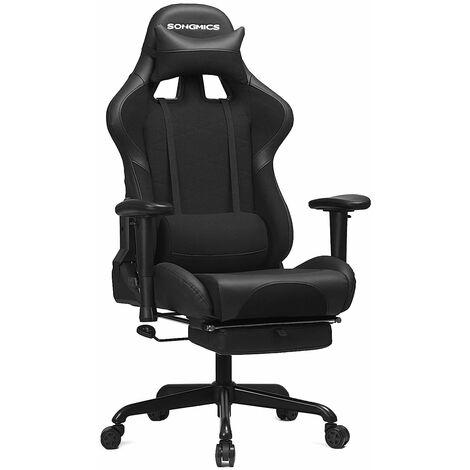 Gaming Stuhl mit Fußstütze, 150 kg, Bürostuhl, Schreibtischstuhl, Lendenkissen, Kopfkissen, hohe Rückenlehne, ergonomisch, Stahl, Kunstleder