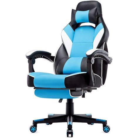 Gaming Stuhl mit hoher Rückenlehne, Ergonomischer Racing Gaming Chair, Bürostuhl, Computerstuhl, Schreibtischstuhl, Drehstuhl mit Fußstütze, Hoher Rückenlehne, Chefsessel, aus Kunstleder PU, Sportsitz, Bürosessel, Bürostuhl, Blau-IWMH