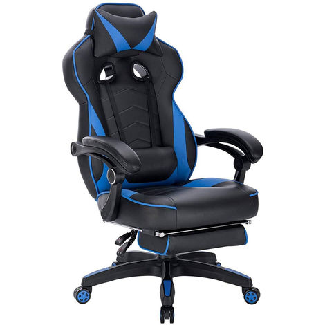 Gaming Stuhl mit Kopfstütze, Lendenkissen & Fußstütze Kunstleder