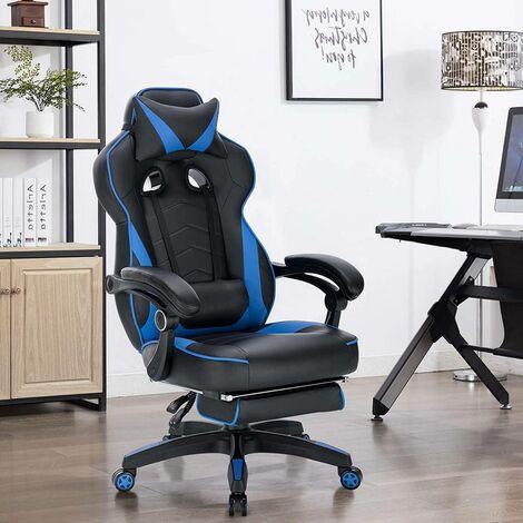 Gaming Stuhl mit Kopfstütze, Lendenkissen & Fußstütze Kunstleder blau