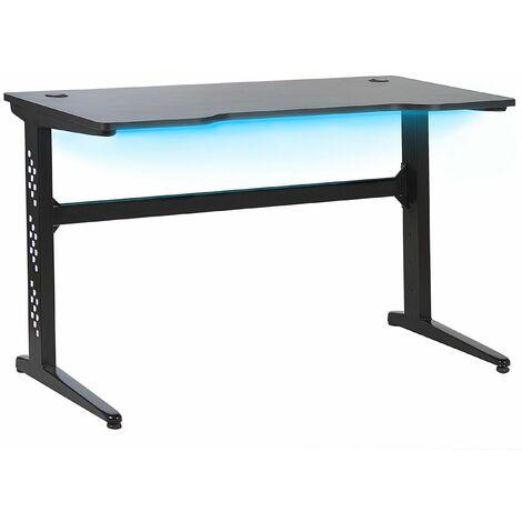 Gaming-Tisch Schwarz MDF Metall 120 x 60 cm RGB LED-Beleuchting Futuristisch Modern Kinderzimmer Jugendzimmer Büro