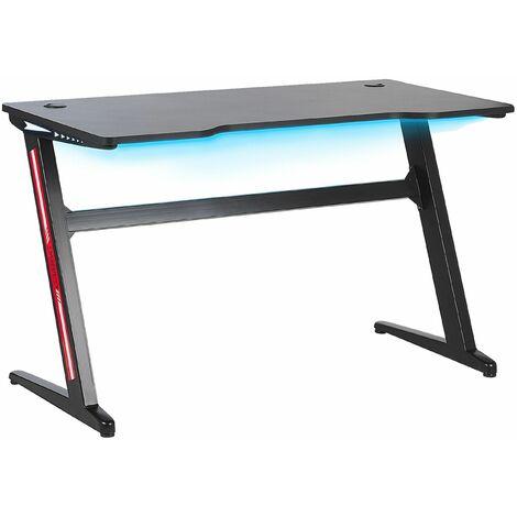 Gaming-Tisch Schwarz MDF Metall 120 x 60 cm RGB LED-Beleuchting Schräge Beine Futuristisch Jugendzimmer Büro