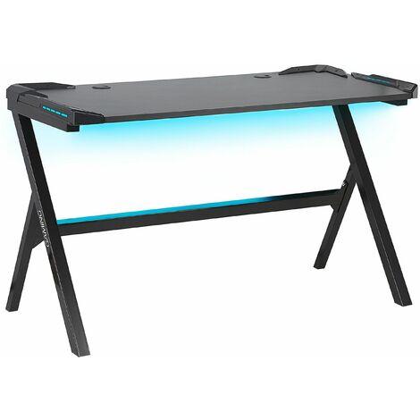 Gaming-Tisch Schwarz MDF Metall 122 x 60 cm RGB LED-Beleuchting Futuristisch Modern Kinderzimmer Jugendzimmer Büro