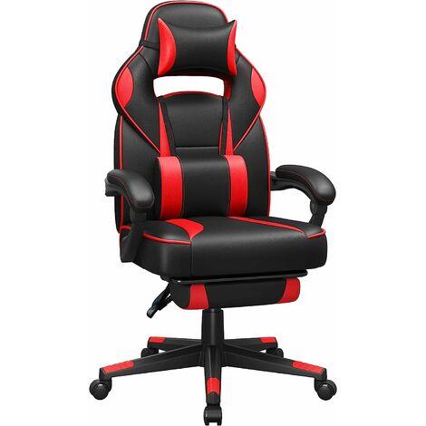 Gamingstuhl, Schreibtischstuhl mit Fußstütze, Bürostuhl mit Kopfstütze und Lendenkissen, höhenverstellbar, ergonomisch, 90-135° Neigungswinkel, bis 150 kg belastbar, Schwarz-rot OBG73BRV1