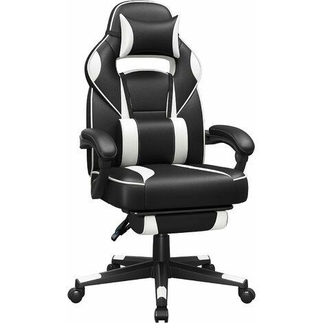 Gamingstuhl, Schreibtischstuhl mit Fußstütze, Bürostuhl mit Kopfstütze und Lendenkissen, höhenverstellbar, ergonomisch, 90-135° Neigungswinkel, bis 150 kg belastbar