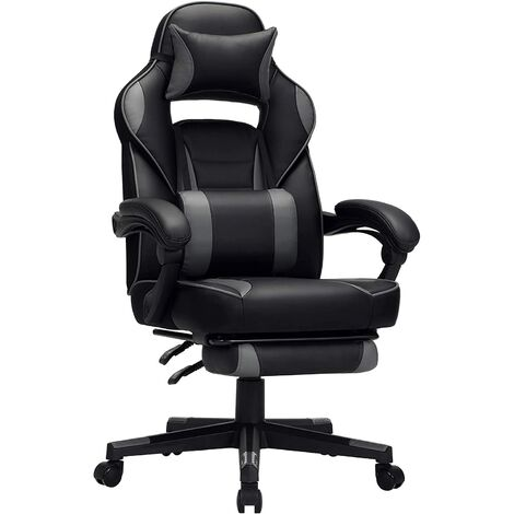 Gamingstuhl, Schreibtischstuhl mit Fußstütze, Bürostuhl mit Kopfstütze und Lendenkissen, höhenverstellbar, ergonomisch, 90-135° Neigungswinkel, bis 150 kg belastbar, Schwarz-grau OBG073B03