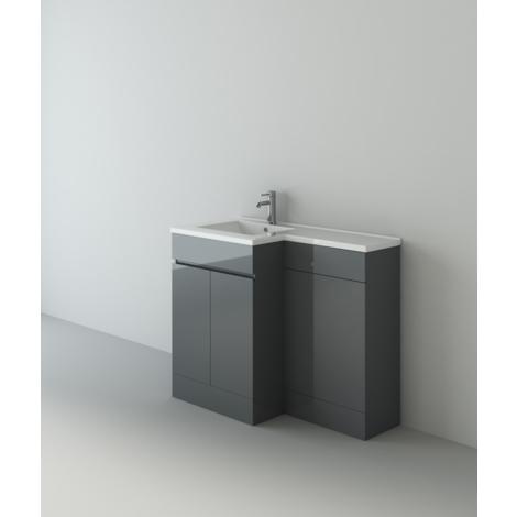 Gamma Grey Gloss L Shape Bathroom Vanity Cabinet Pro BTW Toilet Unit & Mixer Tap