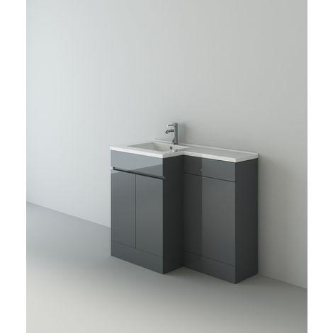 Gamma Grey Gloss L Shape Bathroom Vanity Cabinet Venice BTW Toilet Unit & Tap