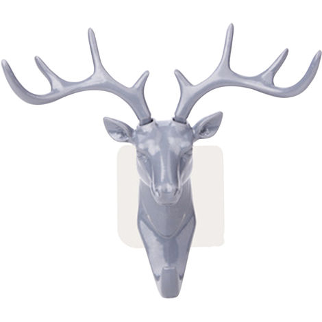 Gancho adhesivo ciervos Elk Head Forma suspension de la toalla No se cuelga la perforacion de montaje en pared para trabajo pesado gancho teclas pegajosas titular Stick del gabinete puerta de la pared de bano dormitorio cocina, GRIS