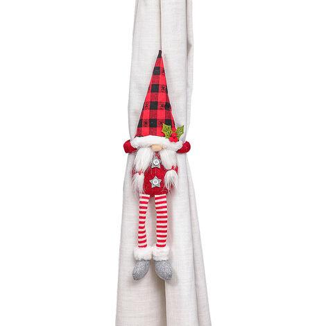 Gancho Ventana Navidad hebilla de la cortina decorado con dibujos animados cortina de Tieback de la cortina para la sala de estar Dormitorio Decoracion, Rojo