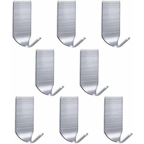 Ganchos Adhesivos para Pared Colgar Toallero Perchero Pared de Cocina Baño 304 Acero Inoxidable Colgadores de Puerta Organizador para Cocina Baño Oficina(1.8kg MAX)-8 Piezas