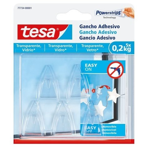 Ganchos adhesivos transparentes 0,2kg TESA