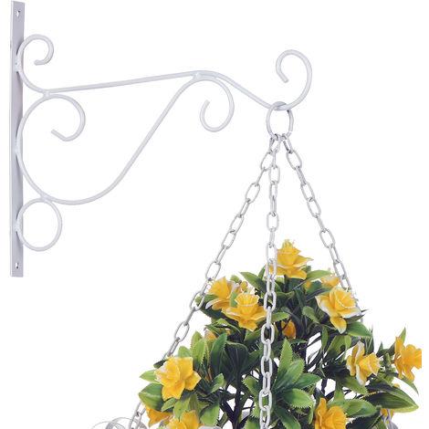 Ganchos colgantes de plantas Ganchos decorativos de pared de hierro,blanco,S