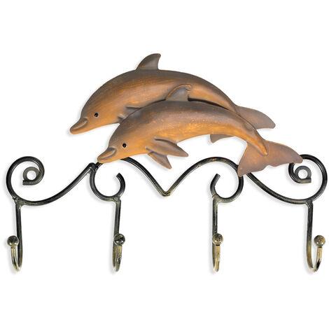 Ganchos de pared de delfines de hierro, percha de hierro de acabado