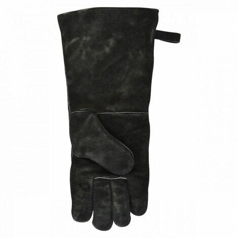 Gant anti-chaleur en croûte de cuir pour barbecue et cheminée
