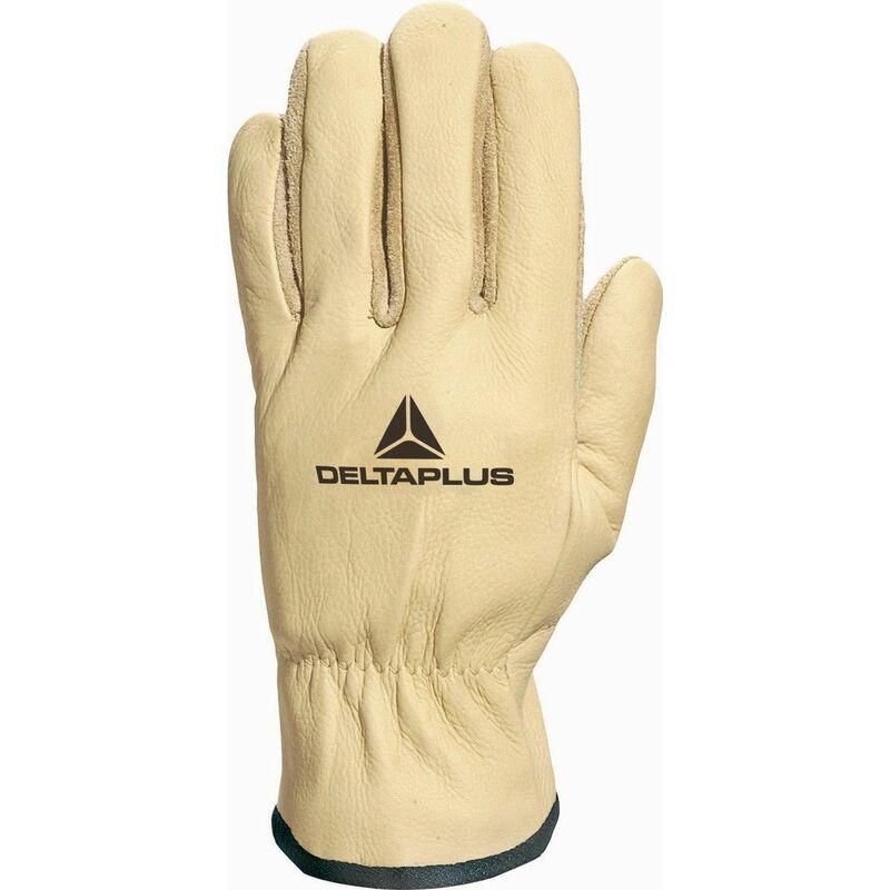 GANT CUIR DE BOVIN HYDROFUGE PAUME FLEUR RETOURNÉE DOUBLÉ KEVLAR® 2 FILS-FIBKV020 - Taille gants - T9 - Jaune - Delta Plus