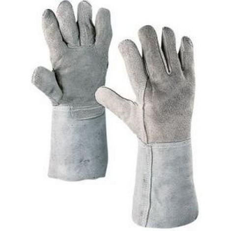Gant de soudeur, cuir grainé/cuir refendu combiné/Cuir vachette nervuré avec protection du poignet, Taille : 10 (Par 12)