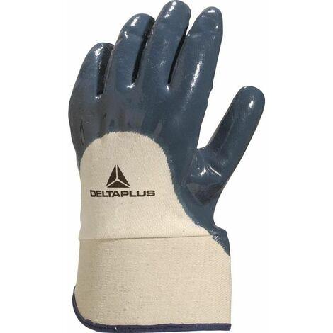 GANT DELTA PLUS NITRILE DOS AERE MANCHETTE TOILE 6 CM - NI1700 - Taille gants - T10 - Gris/Noir