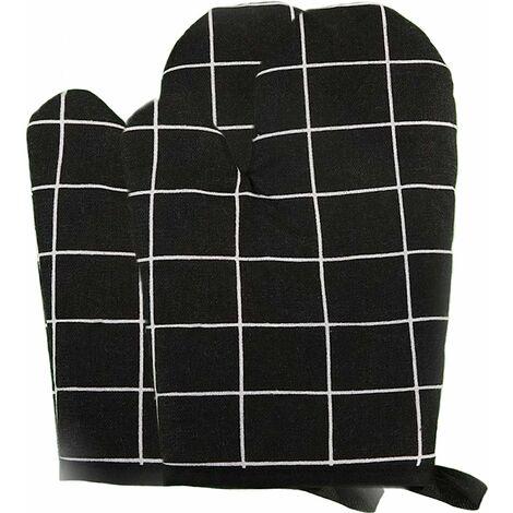 """main image of """"Gant Four Professionnel Noir Gant de Cuisine Gants de Four Oven Gloves Gant Isolant Four Mitaine Four Résistants à la Chaleur Gants de Four en Coton Doublure pour la Cuisson, la Cuisson, les Grillades"""""""