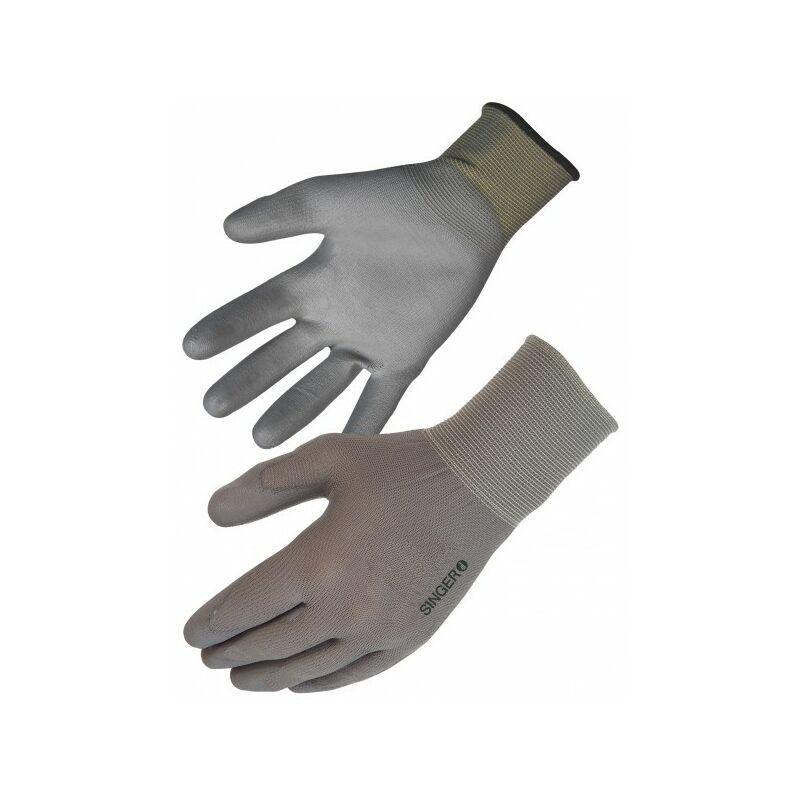 SINGER - Paire de gants polyuréthane (PU) - Support polyester sans couture - Jauge 13 - Taille 10 - NYM713PUG