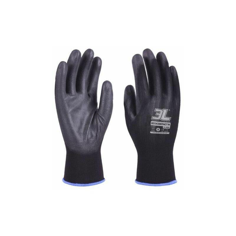 Gant Pu Noir Sans Couture Ecocontact N A2000 T-10