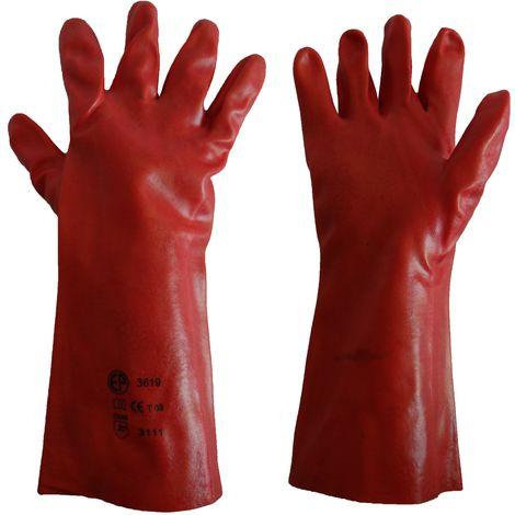 Gant PVC rouge 36 cm Taille 9 - Mob/Mondelin