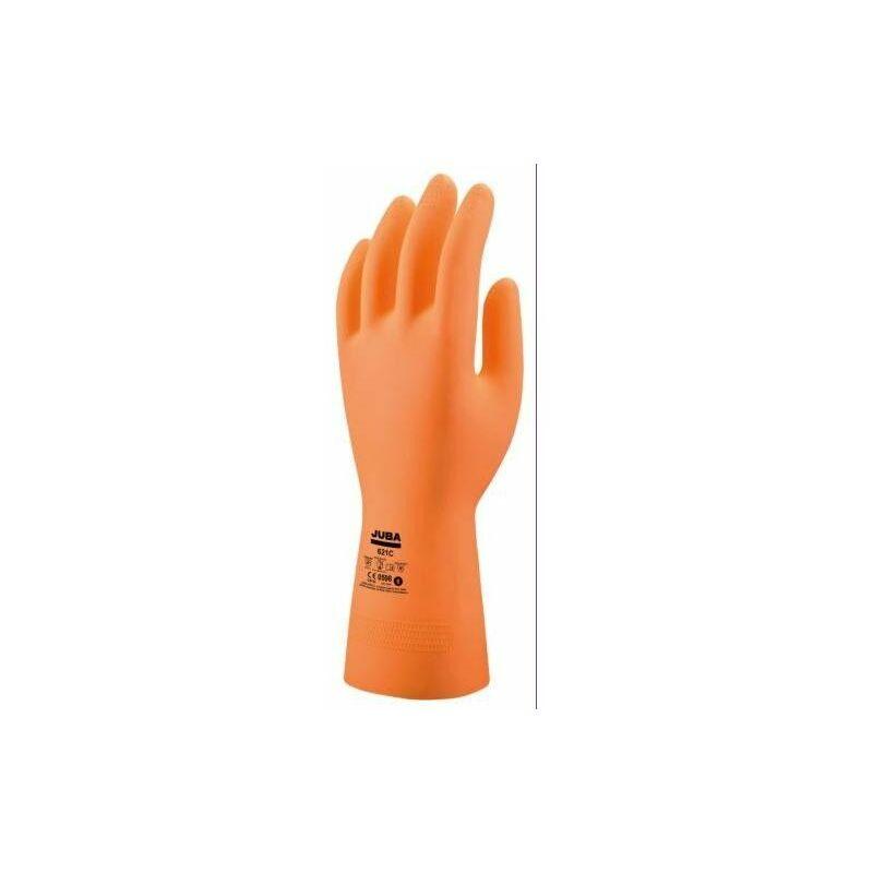 Gant Sans Support Chimique Latex Orange T-10