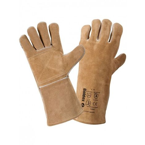 Gant soudeur anti chaleur et feu 35 cm SINGER T10 Polyvalent souple et épais Cuir croute marron Renfort paume pouce et index