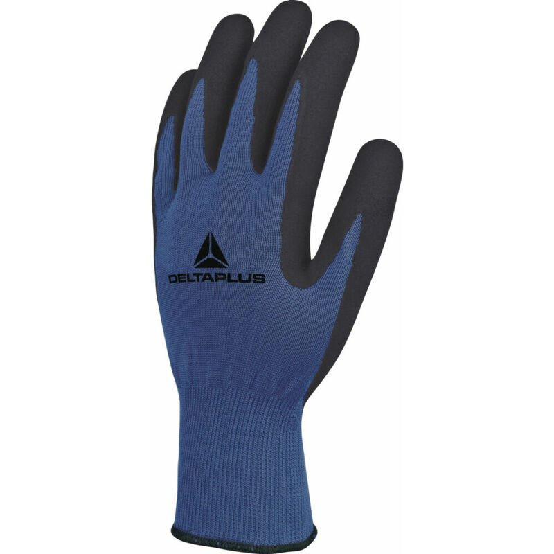 Gant tricot polyester - bleu/noir - paume mousse latex - La paire T8