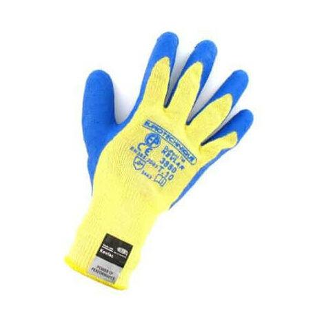 Gants anti coupure kevlar enduit latex bleu Taille XL/10 - Jaune