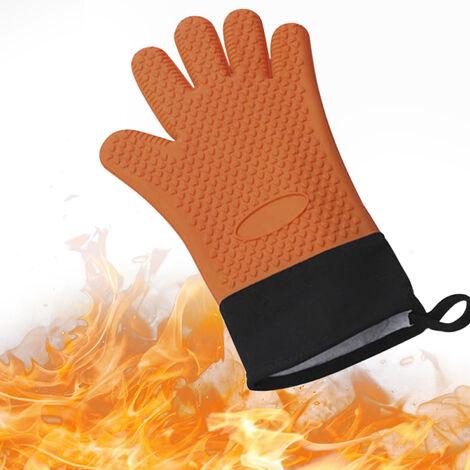 Gants Bbq Gants Isothermiques Resistant Grill Isole Mitaines Non-Slip Gants En Silicone Etanche, Orange