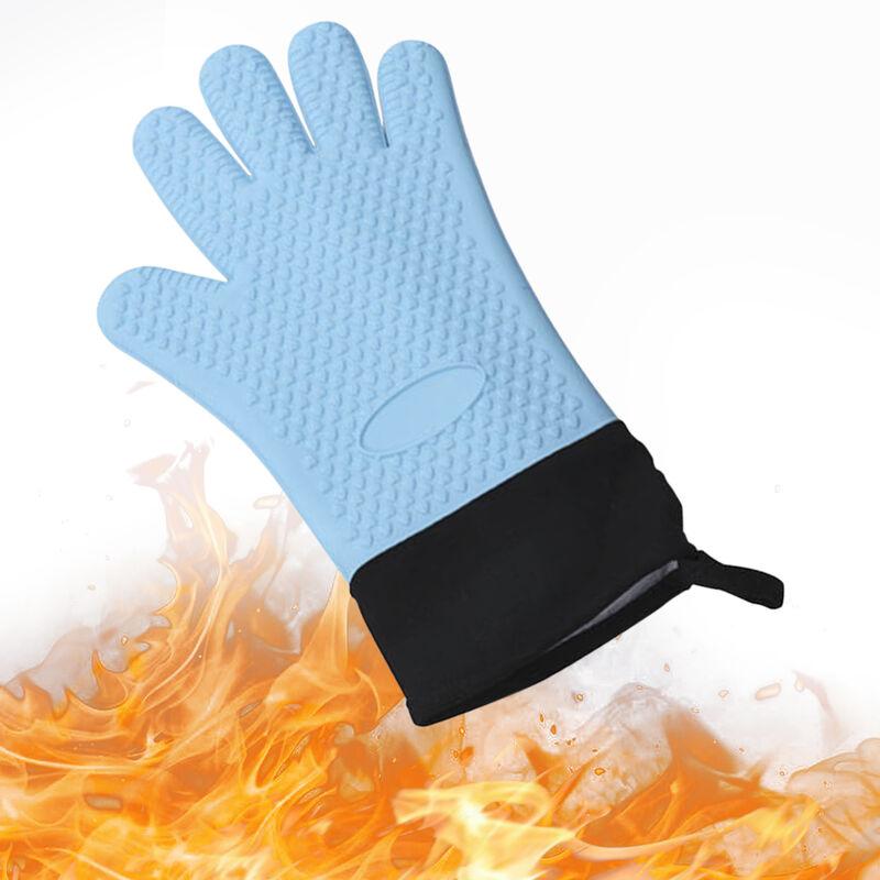 Gants Bbq Gants Isothermiques Resistant Grill Isole Mitaines Non-Slip Gants En Silicone Etanche Pour Cuisson Cuisson Fumeur Cheminee, Bleu