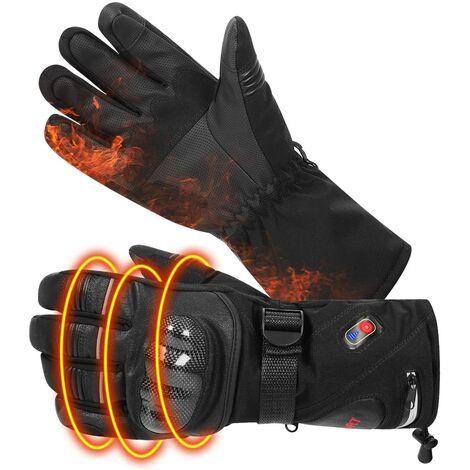 Gants chauffants avec protection des articulations chauffage peau chaude en cuir écran tactile gants de moto gants rechargeables pour hommes femmes équitation ski, taille L