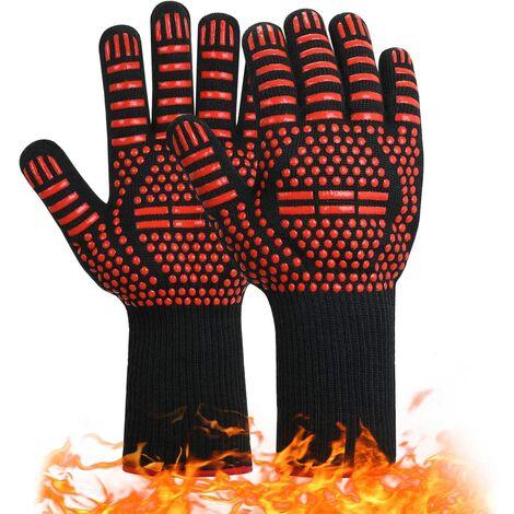 Gants de barbecue, gants de cuisine en silicone antidérapants, la température la plus élevée peut atteindre 800 ° C.Gants universels pour cheminée de cuisine de four à barbecue (rouge