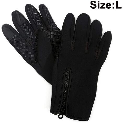 Gants de course à écran tactile pour hommes et femmes - Doublures de gants d'hiver thermiques pour le cyclisme et la conduite - Gants de sport fins, légers et chauds, taille L