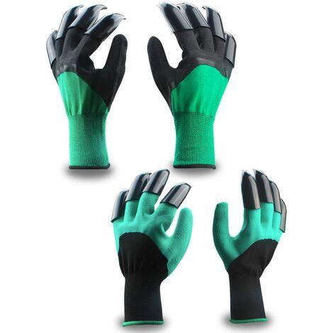 Gants de jardin, gants de jardin (2 paires de vert noir 8 griffes) gants végétaux et de travail