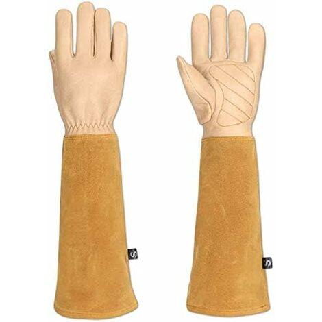 Gants de jardin spécial rosier et épineux pour homme et femme, cuir de chèvre, protègent vos bras jusqu'aux coudes (HCT05) M